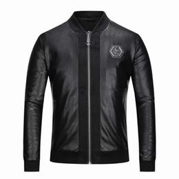 черное кожаное спортивное пальто Скидка 2018 высокое качество итальянский известный бренд мужской искусственный мех большая одежда мода пилот проект импортированные pp замша куртка мужская тонкий рубашка