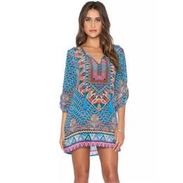 871a43d4e 2016 top marcas de vestidos de buena calidad mujeres bohemia corbata  Vintage impreso estilo étnico vestido de verano vestido de playa Vestidos