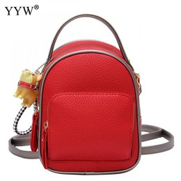 backpack factory Promo Codes - YYW Pu Leather Women Schoolbag Backpack Factory Price Mini Backpacks For Girls Solid Red Pink Mulheres  High Quality