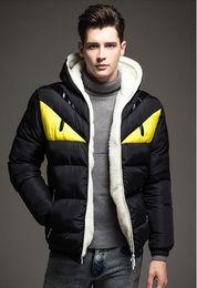 Pelzmantel online-Wholesale- Winterjacke Herren Patchwork Down Jacket Men Fashion Male Warm Parkas dünne Furry-Mantel-Hombre Jacken für Herbst-Winter