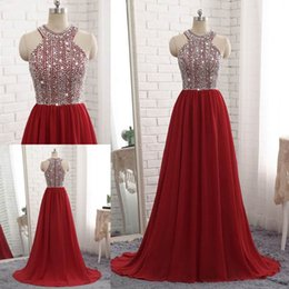 Wholesale Vintage Sequin Tops - 2018 Dark Red Chiffon Long Evening Dresses Beaded Top Prom Dresses Luxury A-line Cheap Off Shoulder Prom Party Gown Vestidos De Fiesta