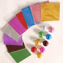 Wholesale Bond Paper Sheets - KASSEM 500pcs 15x15cm Multi color Wrapping Paper for Party Chocolate Candy Tea Aluminum Foil decoration Wrapper Sheets Free Shipping