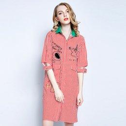 Wholesale Korean Womens Fashion Blouses - 2018 Autumn Femme Womens Tops Fashion Long Striped Shirt Women Long Sleeve Blouse Korean Woman Clothes Casual Shirts