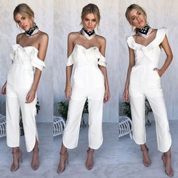 a22e5c55d61 Plus Size S-XL White Jumpsuit Ruffles Hombro Rompers Cintura alta mono  mujer Casual combinaison femme body women ONY0677 white rompers for plus  size women ...