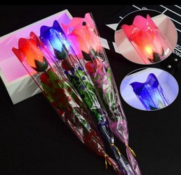 Wholesale Flash Light Roses - LED Flashing Artificial Rose Flower Night Light Wedding Valentine's Day Wedding home decor Light Up Rose Flower LED Toys KKA3937