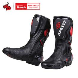 botas de montar de cuero negro de los hombres Rebajas Riding Tribe Motorcycle Boots Hombre Motocross Off-Road Moto Zapatos PU Leather Moto Boots SPEED Racing Dirt Bike Negro