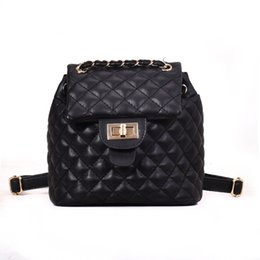 b8418e92256f 2019 Fashion New Brand Designer Pu Leather Women Backpack Plaid Girl School Bag  Fashion Small Knapsack Lady Cute Chain Backpack Shoulder Bag