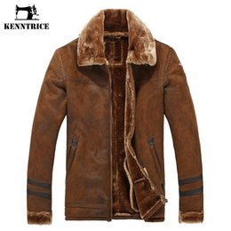 Wholesale wool military jacket - Kenntrice Winter Men's Fur lined Coat Leather Long With Military Faux Fur Lined Leather Jacket Coat Fleece Coat Thicken Warm