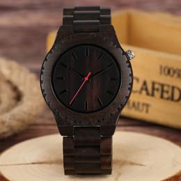 Wholesale wooden gears - Top Handmade Wood Watch Sport Black Ebony Full Bamboo Men Quartz-watch Gear Face Creative Male Analog Red Hand Wristwatch