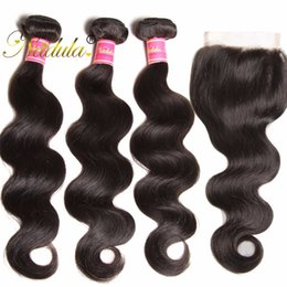 Wholesale Cheap Weave Closures - Nadula Brazilian Body Wave Human Hair 3Bundles With Closure 4*4Free Part Lace Closure Remy Hair Hair Extensions Weave Wefts Wholesale Cheap