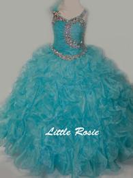 Robe blanche à la jupe bleue en Ligne-Jolie pastèque rouge blanc bleu perles fille de fleur robes robes de reconstitution historique de filles / robe d'anniversaire / jupe taille personnalisée 2-14 DF710330