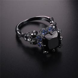 anéis crânio demônio Desconto Jóia do punk jóias crânio garra ouro preto prata esterlina 925 demônio princesa obsidiana anel de casamento das mulheres carimbado 10kt