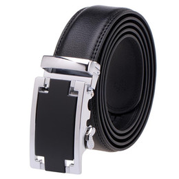 Wholesale level automatic - VBIGER High-End Genuine Men Top-Level Cowhide Belt Wrist Band Strip with Automatic Buckle in Black