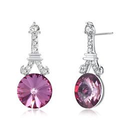 Hemiston 100% argent sterling 925 CZ rose rond en forme de tour et tour Eiffel boucles d'oreilles classique bijoux cadeau SVE288 ? partir de fabricateur