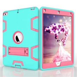 Wholesale Pink Body Protector - Hybrid Three Layer Heavy Duty Armor Defender Full Body Protector With kickstand For IPAD pro 9.7 10.5 new 2017 LG PAD 2 3 Opp Bag
