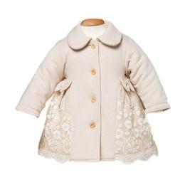 Jaqueta de algodão orgânico meninas on-line-Infantil Do Bebê Da Menina de Algodão Orgânico de Manga Comprida Rendas Jaquetas Da Criança Pequena Grosso Acolchoado Casacos Snowsuit Outerwear Roupas