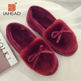 Wholesale Used Leather Shoes - IAHEAD Brand Women Winter Shoes Warm Flock Flat Slip On Slippers Shoes for Home use Warm Slippers UPB81-2