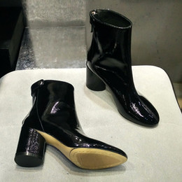 botas de boda Rebajas Shine Boots For Women zapatos de novia de tacón grueso novia negro tobillo longitud accesorios de la boda envío gratis