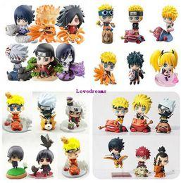 Wholesale q kid - 24pcs Naruto Action Figure Toys Uchiha Sasuke Uchiha Madara Q Version pvc Figure Toys Dolls Model Kids Christmas Gifts Phone Accessories