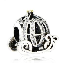 Wholesale pandora pumpkin bead - Authentic 925 Sterling Silver Cinderella Pumpkin Charm Beads Gold Plated CZ Rhinestone Pumpkin Bead Fits Pandora Bracelets DIY Fine Jewelry