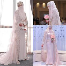 Casamento hijab frisado on-line-Sparkly Luxo Lace Frisada Sereia Vestidos de Casamento Com Cabo 2018 Alta Neck Hijab Muçulmano Kaftan Caftan Manga Comprida Igreja Vestido De Noiva