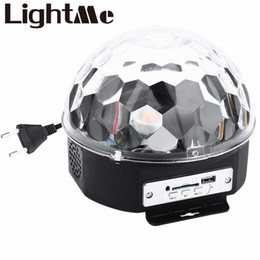 Wholesale Laser Party Ball - Wholesale-10 - 25W 6 LEDs RGB Premium Sound Control Stage Light RGB LED Magic Crystal Ball Lamp Disco Light Laser Wedding Party Lamp