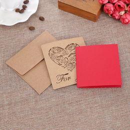 Mini tarjetas de deseos online-Creativo Mini tarjeta de felicitación plegable de papel Kraft / Mis mejores deseos / Feliz cumpleaños / Tarjeta de bendiciones / Tarjeta de mensajes / Fiesta de eventos Suministros para manualidades