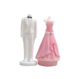 Velas de molde de azúcar online-Venta al por mayor Novio y Novia vestido de novia hecho a mano del molde del molde de jabón velas de silicona herramientas de arte de azúcar del molde