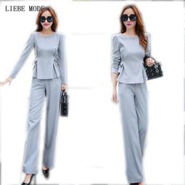 Chaquetas formales para mujer online-(Chaqueta + Pantalones) Traje de desgaste de oficina de 2 piezas para mujer Gris Rosa para mujer de negocios Conjuntos con pantalones Trajes de pantalón formal para mujer