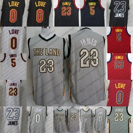 Wholesale Men Land - Cleveland City Edition Basketball The Land Jersey #23 LeBron James Gray 0 Kevin Love Black 2017-2018 5 JR Smith Red White S-XXL all-star