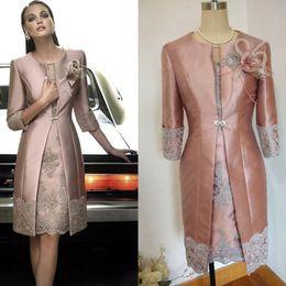 79e48462fbe 2017 Vintage Carla Ruiz Knee Length Mother off the Bride Groom Plus Size  Suits Long Jacket Appliques Lace Wedding Guest Dresses