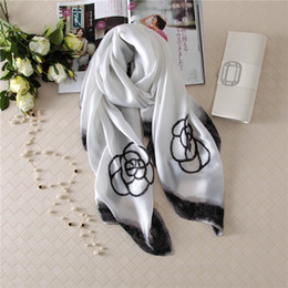 Wholesale White Scarf Women - Top qualtiy Silk Luxury Brand Scarf women Scarves 2018 Sping Floral print Design Scarf womenThin Shawls Size 180x90cm B-088