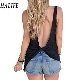Wholesale Asymmetrical Hem Tops - HALIFE Women Backless Cross Tank Top Mujer Summer Sleeveless Asymmetrical Hem Sexy Tops Wrap T-Shirt Clothing Dos Nu Haut 610
