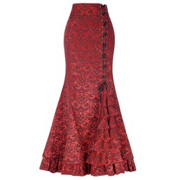 Retro Gothic Mermaid Long Skirts Women High Waist Corset Ruffle Lace Up  Skirt Bodycon Vintage Female Printed Party Pencil Skirts af416b639