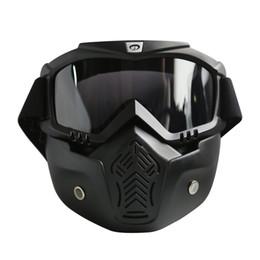 2019 motocicleta, rosto, rosto, máscara Óculos De Proteção Da Motocicleta Máscara Destacável Óculos E Boca Filtro Perfeito para a Face Aberta Motocicleta Meia Capacete ou Capacetes Do Vintage motocicleta, rosto, rosto, máscara barato