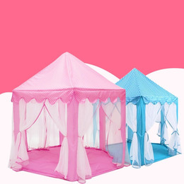 Wholesale folding car doors - Princess Castle Play Game Tent Removable Lovely Hexagon Folding Playhouse Soft For Children Funny Tents Top Quality 63 7lj B