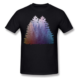 Wholesale Pine Tree Prints - Drop Shipping Adult 100% Cotton My Misty Secret Forest Pine Trees Tee Shirts Adult Round Collar Red Short Sleeve Tee Shirts Big Size Street