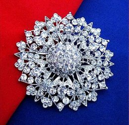 wholesale large flower brooches 2018 - 2018 New arrival charm women 2.4 Inch Silver Plated Zinc Alloy Clear Rhinestone Crystal Diamante Women Large Flower Vintage Look Brooch 103