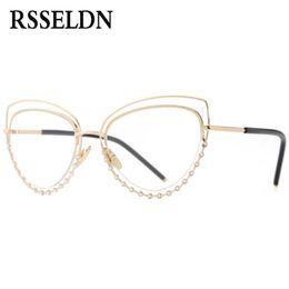ce9955b557e RSSELDN Gold Rhinestone Cat Eye Glasses Frames For Women Clear Lens High  Quality Brand Eyeglasses Frame Women 2017 Newest