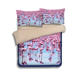 Wholesale Black White Red Bedspread - Pink Flamingo Bedding sets comforters duvet cover bed sheet set quilt bedspread linen US Twin King queen size Bed Cover 3 4 Pcs