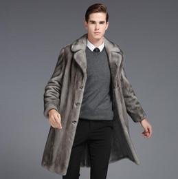 Wholesale Men Mink Fur Collar - mink imitation fur coats mens trench single-breasted mens fur coat 2017 new men's collar jaqueta de couro masculino grey