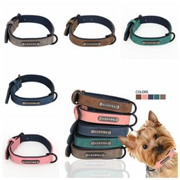 Wholesale pet buckle collars - 5 Colors PU Leather Pet Collars Dog Collar Soft Leather Dog Leash Dog Supplies pet Collars Neck Buckle AAA453