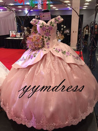 Wholesale Image Arts Photo - Pink Quinceanera Dresses Prom Dress Evening Wear Embroidery Masquerade Gowns 2018 Modest Fashion Sexy Occasion Birthday Party Real Image
