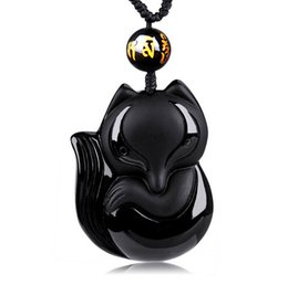 hand carved stone pendants Promo Codes - Charming 43x38mm Chinese Handwork Black Obsidian Hand-Carved Lucky Fox Amulet pendant necklace woman man's Jewelry