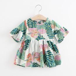 Repartir vestidos online-(5 Unids / lote) Super Deal Summer Cotton Baby Dress Princesa Dress Ruffle Sleeve Cute Fashion Baby Infant Floral Vestidos Impresos