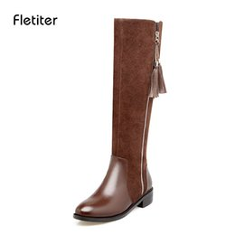 621e12aafe32 Knee High Women Boots Zipper Motorcycle Boots Low Heels 3cm Fringe Platform  Shoes Winter Ladies Riding 2018 Fletiter