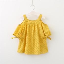 ragazza di camicetta bianca Sconti Le ragazze fuori spalla estate pizzo ricamato T-shirt carino Tops verde giallo e bianco cotone dolce camicetta B11