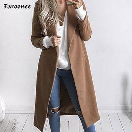 Wholesale Trench Coat Femme - Faroonee Winter Wool Coat for Women Warm Long Trench Coat Blends Luxury Brand Cardigans Open Stitch Manteau Femme Big Size