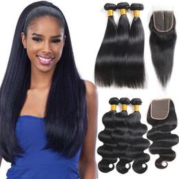 Fermeture frontale non traitée en Ligne-8A 10A Droite Brésilienne Vierge Cheveux avec Extensions de Fermeture 3 Bundles Brésilienne Vague de Corps avec Frontal Non Transformé Remy Hair Weave