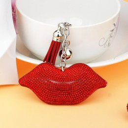 Wholesale Lips Accessories - Car key ring fashion lips set full drill tassel key mobile phone leather handbags accessories accessories valentine's day gift